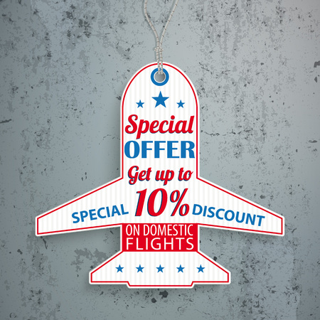 Passenger flight price sticker with text on the concrete background. Eps 10 vector file.