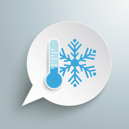 Round speech bubble with thermometer and snowflake on the gray background. Eps 10 vector file.