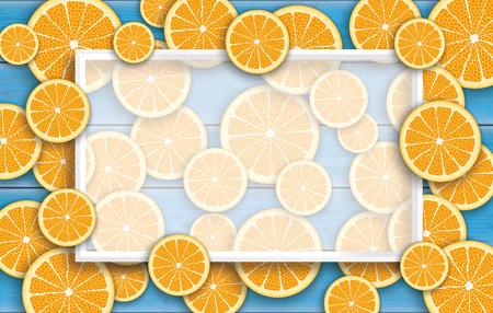 limon: Orange fruits on the blue wooden background.  Eps 10 vector file.