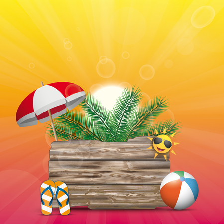 Wooden board with palm, flip-flops, beach ball on the summer sky background. Eps 10 vector file.
