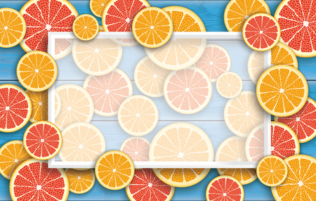 limon: Orange and grapefruit fruits on the blue wooden background.  Eps 10 vector file.