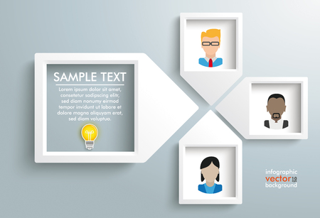 employe: 4 paper arrow frames with human faces on the gray backround. Eps 10 vector file.