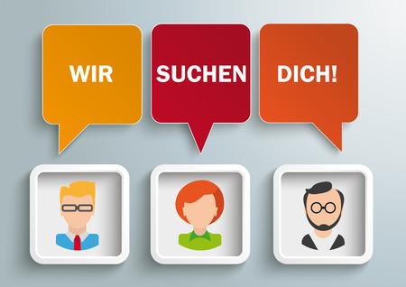 Niemiecki tekst Wir Suchen Dich, tłumaczyć My Want You. Eps 10 plik wektorowy.