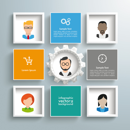 ceo: Infographic design with squares and gear wheel on the gray background. Eps 10 vector file.