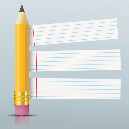 Pencil with striped paper stickers on the gray background. Eps 10 vector file.