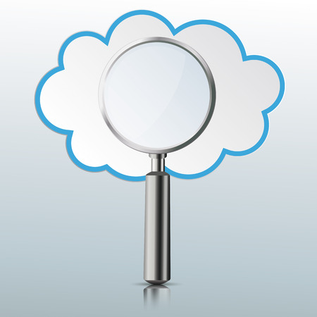 Loupe with a cloud on the gray mirror background. Eps 10 vector file. Illustration