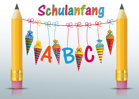 German text Schulanfang, translate Back to School. Eps 10 vector file.
