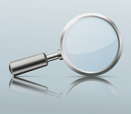Loupe with reflection on the gray background. Eps 10 vector file.