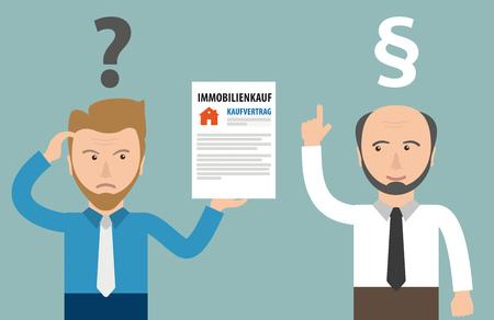 Deutscher Text Immobilienkauf Kaufvertrag, übersetzen Immobilienkaufvertrag. ENV 10 Vektordatei.