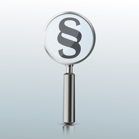 Loupe with paragraph on the gray mirror background. Eps 10 vector file.
