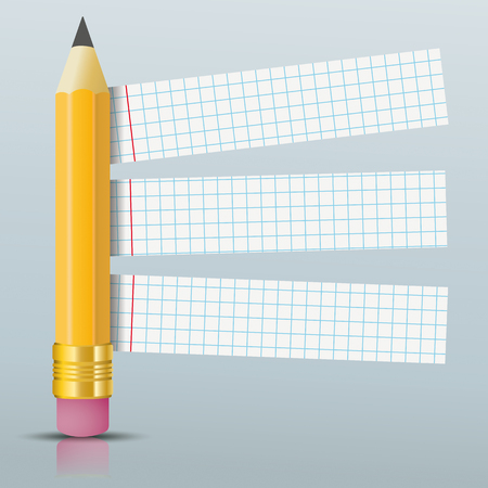 Pencil with checked paper stickers on the gray background. Eps 10 vector file. Illustration
