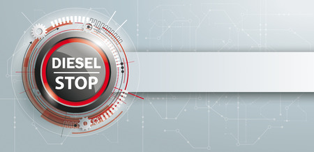 Button with banner and text Diesel Stop. Eps 10 vector file.