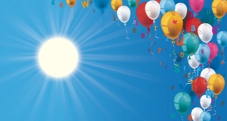Colored balloons, with letters and sun on the blue sky. Eps 10 vector file. Illustration