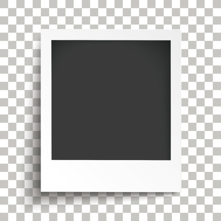 Instant photo with transparent shadows on the checked background. Eps 10 vector file.