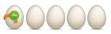 German text Bio-Eier, Premium Qualität, translate Bio-Eggs, Premium Quality. Eps 10 vector file.