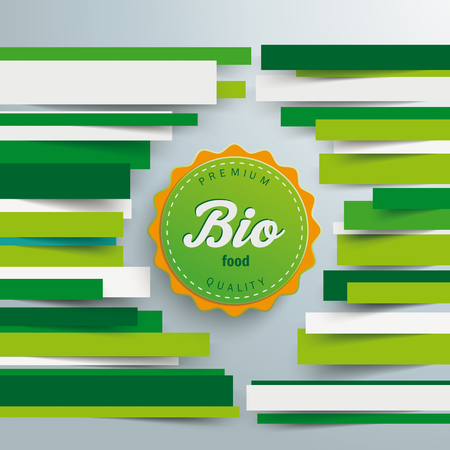 Green paper lines with bio label on the gray background. Eps 10 vector file. Illustration