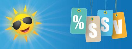 website header: German text SSV, translate Summer Sale. Eps 10 vector file.