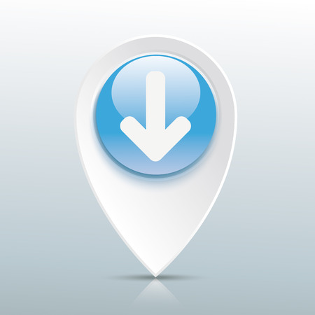 map pin: Pointer with download arrow on the gray mirror background. Eps 10 vector file. Illustration