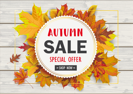 Foliage with golden emblem for the autumn sale on the wooden background. Eps 10 vector file.