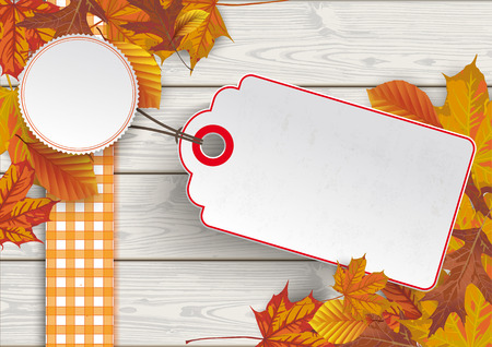 Foliage with price sticker on the wooden background. Eps 10 vector file. Vettoriali