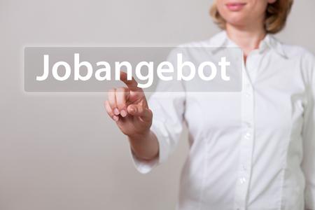 German text Jobangebot, translate Job Offer. Stock Photo