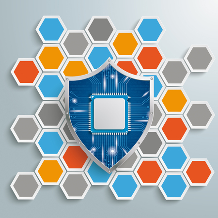 Infographic with honeycomb structure and blue protection shield on the gray background. Eps 10 vector file. Illustration