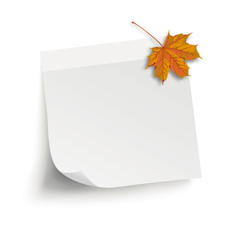 White stick with maple foliage on the white background. Eps 10 vector file.