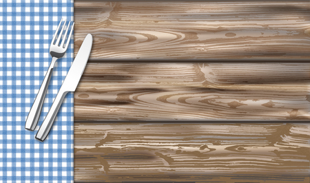 Blue checked picnic blanket with wooden table with fork and knife. Eps 10 vector file.