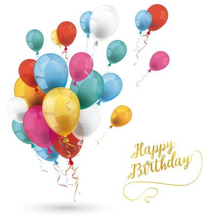 Globos de colores con fondo blanco con texto feliz cumpleaños. Archivo de vectores Eps 10.