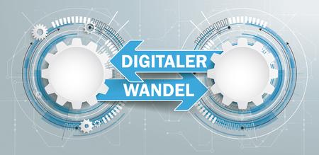 Texte allemand Digitaler Wandel, traduire Digital Transition. Fichier vectoriel EPS 10