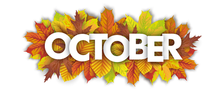 Autumn foliage with text October.  Eps 10 vector file. Illustration