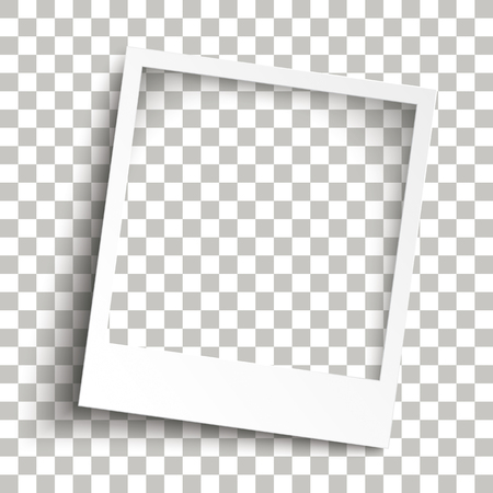 Instant photo frame with transparent shadows on the checked background. Eps 10 vector file.