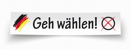 headliner: German Text Geh Waehlen, translate Vote.  Eps 10 vector file.