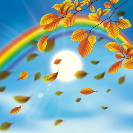 Rainbow with clouds, autumn foliage, blue sky and sun. Eps 10 vector file.