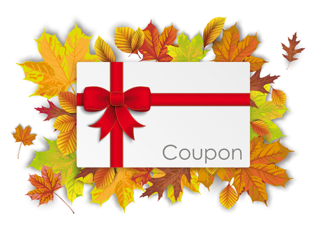 Coupon with red ribbon and autumn foliage on the white. Eps 10 vector file.