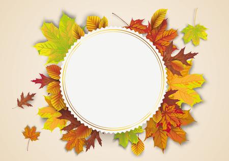 Emblème d'or avec feuillage d'automne. Fichier vectoriel EPS 10
