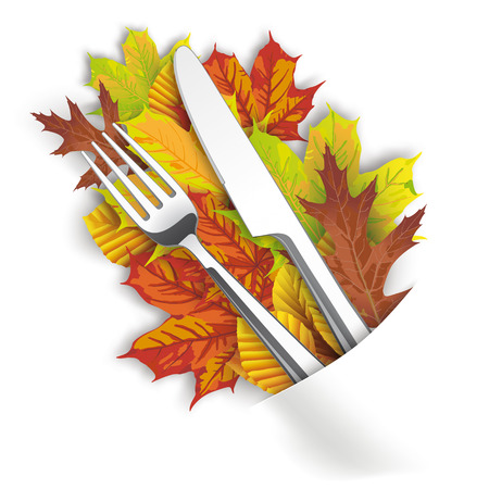 Autumn foliage with knife and fork on the white table. Eps 10 vector file. Illustration