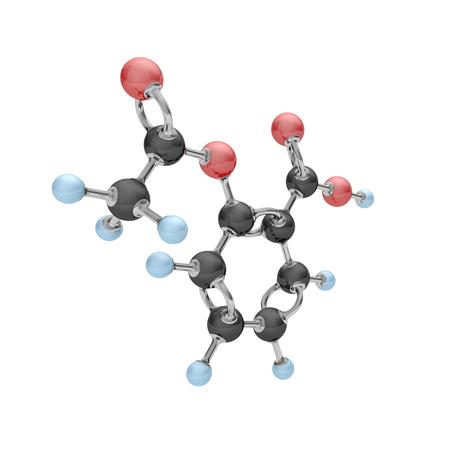 흰색에 아세틸 살리실산의 분자입니다. 3d 일러스트 레이 션.