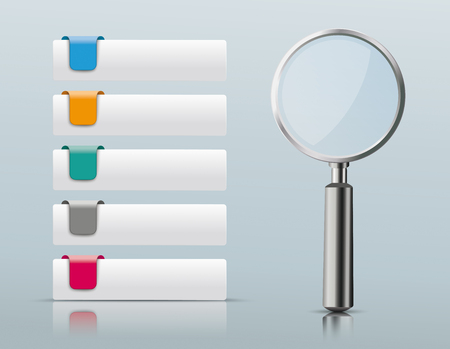 Colored rectangle paper tabs with 5 options and black loupe on the gray background. Eps 10 vector file. Illustration