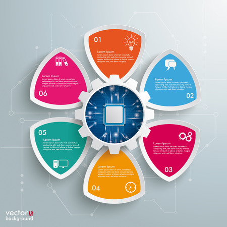 Infographic design with gear wheel and microchip on the gray background. Eps 10 vector file.