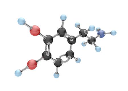 Molecule of dopamine on the white. 3d illustration.  Stock Photo