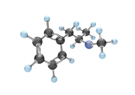 Molecule of methamphetamine on the white. 3d illustration. Stock Photo