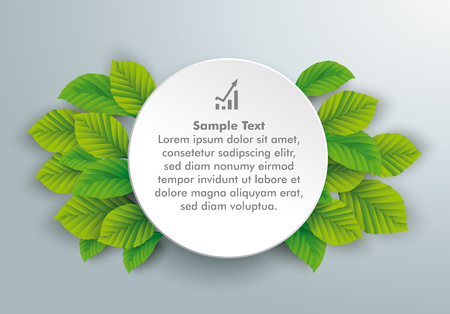 Infographic design with circle and green eco leaves on the gray background.