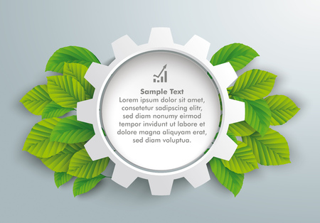Infographic design with gear wheel and green eco leaves on the gray background. Illustration