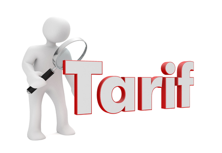 Deutscher Text Tarif, übersetzen Tarif. 3D-Darstellung.
