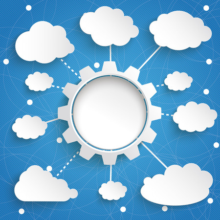 firma: Infographic design with gear wheel and clouds on the blue background.