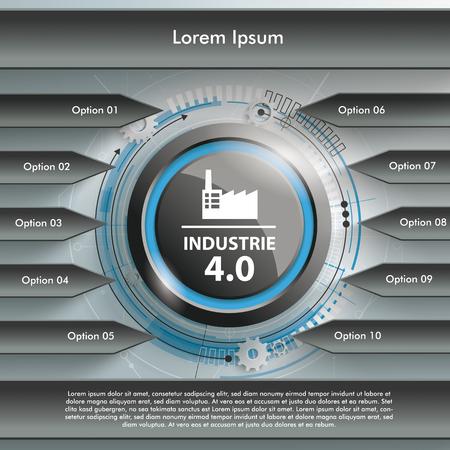 beginnings: Germant test Industrie 4.0, translate Industry 4.0. Eps 10 vector file. Illustration