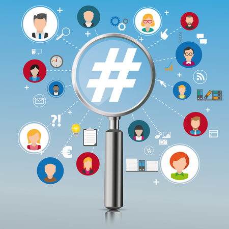 Loupe with humans and hashtags on the gray mirror background. Eps 10 vector file.