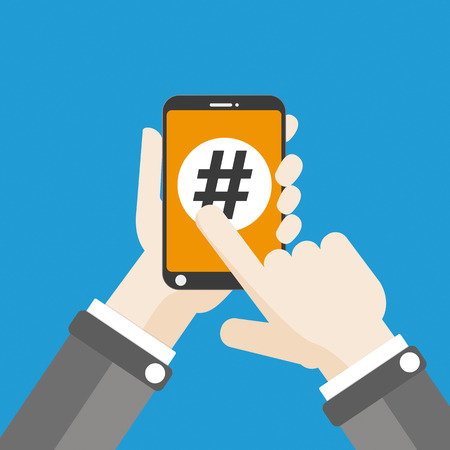 Flat design with human hand, smartphone and hashtag. Eps 10 vector file. Illustration