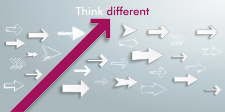Think differently concept with arrows on the gray background.